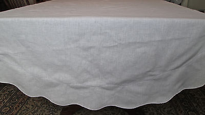 "oval 89x57"" vintage tablecloth, linen blend ivory color, scalloped&laddered edge"