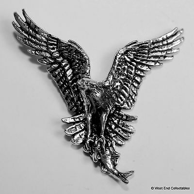Osprey with Fish Pewter Brooch Pin -British Artisan Signed Badge- Falconry Hawk