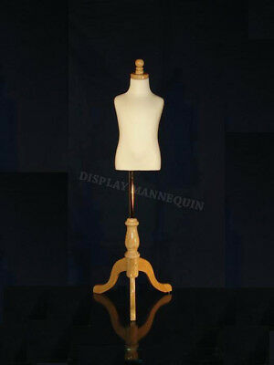 KIDS DRESS FORM MANNEQUIN 3-4 YRS w/Tripod Wooden Base Child Clothing Display