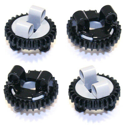 Lego Technic - Mini Turntable x2 Small Grey Black Studless Toothed Rotate - NEW