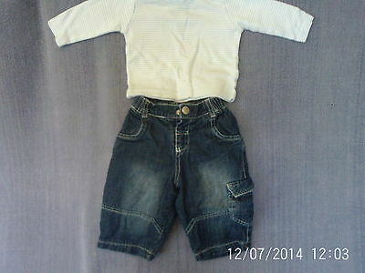 Baby Boys 0-3 Months - Blue Cargo Jeans & Long Sleeve Top Outfit