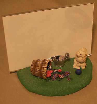 POODLE WHITE FIGURE ON BASE WITH FLOWERS PICTURE FRAME ATTACHED