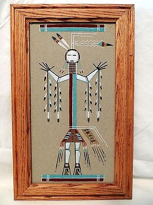 Framed and Signed Lester Johnson Navajo Sand Painting