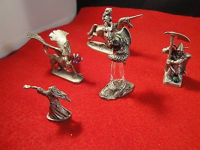 LOT OF 5 SIGNED  PEWTER PARTHA FIGURINES 4 with CRYSTAL BALLS 1 RED EYES