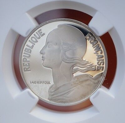 1979 France 20 Centimes KM# P632 Proof Silver Piedfort  NGC PF66 UC - 600 Minted