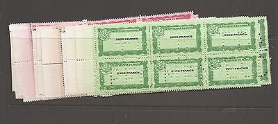 Benin Revenues blocks of 6 4 vals 500F-200F MNH punch TDLR Specimen (12ayc)