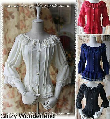 Lolita Fairy Dance Blouse Cosplay Gothic Top Classic Vintage Ruffle & Lace S-XL
