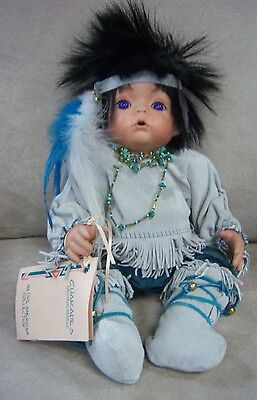 "CHARADES PORCELAIN  NATIVE AMERICAN DOLL ""WINTER STALKER"" KATHIE JACKSON"