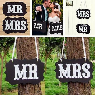 Mr & Mrs Love Wedding Party Photo Props Chair Signs Hanging Banner Garland Decor
