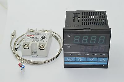 Digital PID Thermostat Temperature Controller + 40A SSR + K Thermocouple Sensor
