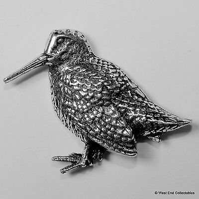 Standing Woodcock Pewter Brooch Pin - British Artisan Signed Badge- Hunting Bird