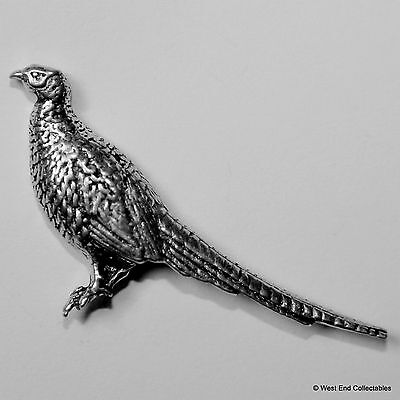 Standing Pheasant Pewter Brooch Pin - British Artisan Signed Badge- Shotgun Bird