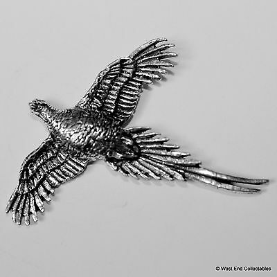 Wings Spread Pheasant Pewter Brooch Pin - British Artisan Signed Badge - Hunting