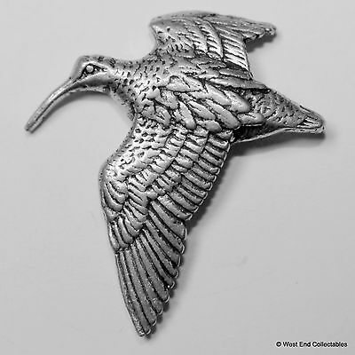 Woodcock in Flight Pewter Pin Brooch - British Artisan Signed Badge - Hunting