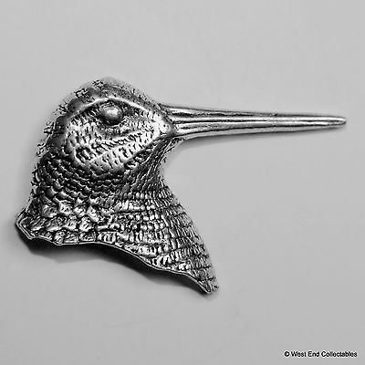 Woodcock Head Pewter Pin Brooch - British Artisan Signed Badge - Snipe Gamebird