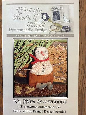 With Thy Needle & Thread ~ Snowbuddy~ Pre-Printed Punchneedle Design ~ New