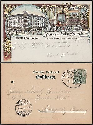 Germany 1900 Used stamp on postcard to Brieg. RAILWAY CANCELLATION......R5012