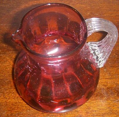 PILGRIM  CRANBERRY  CREAMER / JUG  clear applied handle