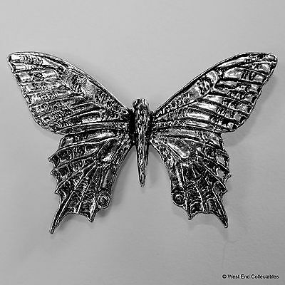 Butterfly Pewter Brooch Pin - British Artisan Signed Badge- Papillon Moth Insect