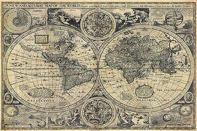 Large historic 1626 MAP OF THE WORLD OLD ANTIQUE STYLE WALL MAP FINE art print