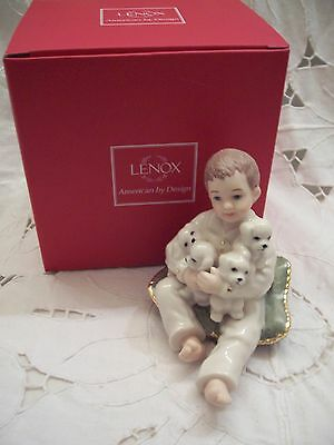 """LENOX """"BOY HOLDING DOG"""" FIGURINE MIB FROM THE FIREPLACE COLLECTION"""