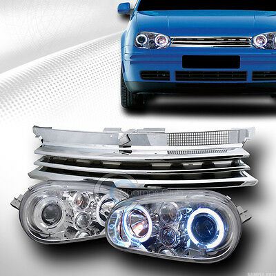 CHROME HALO PROJECTOR HEAD LIGHT W/HORIZONTAL GRILL GRILLE 1999-2005 VW GOLF MK4