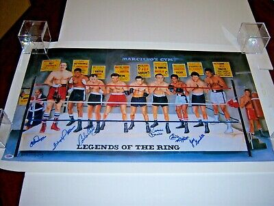 Legends Of The Ring Boxing Chuck Wepner,floyd Patterson+4 Psa/dna Signed Poster