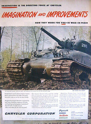 1945 Wwii Chrysler General Sherman Tank W/grousers Print Ad!