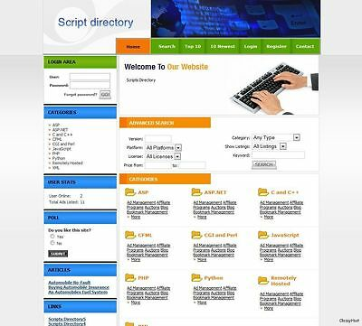 Scripts & Software Directory Website + Google Adsense. Make Money From Home.