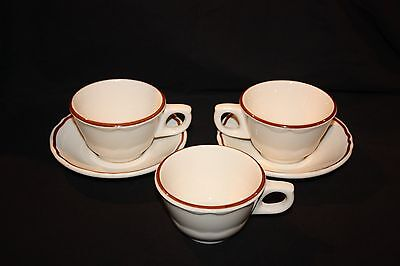 2 Shenango Cups And Scalloped Edge Saucers With Extra Cup White With Red Stripe