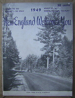 1949 New England Welcomes You Travel Magazine with Pine Tree State Highway Cover