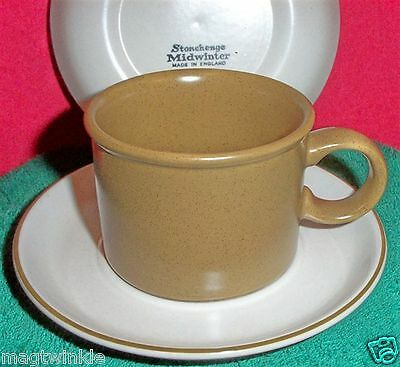2 Midwinter Stonehenge Cup&Saucer Pumpkin-Pie color Cup,speckle Saucer #EE1163AB