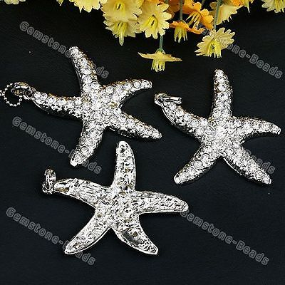 1Pc White Crystal Starfish Silver Plated Pendant Bead
