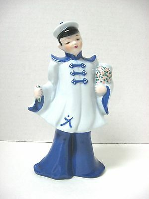 vtg Florence California Pottery Asian TALL boy figurine vase BLUE COLOR marked