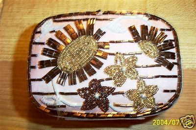 BEADED Flower Top TRINKET BOX CLOTH COVER HAND-MADE Amber & Gold Seed-Beads #116