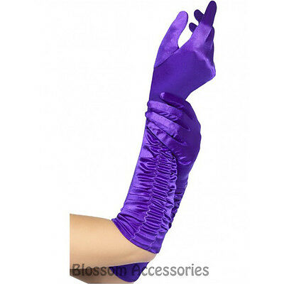 A478 Womens Long Purple Temptress 1920s Costume Gloves Burlesque Flapper