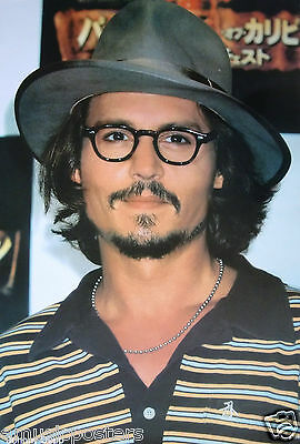 """Johnny Depp """"wearing Glasses & Hat In Striped Shirt"""" Poster"""