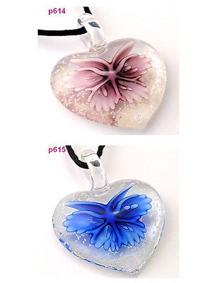 LOTS 2PC fluorescent butterfly lampwork Murano art glass beaded pendant necklace