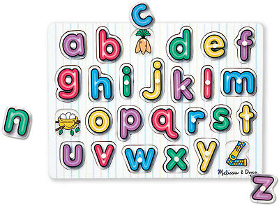 Melissa & Doug SEE INSIDE WOODEN PEG PUZZLE/JIGSAW ALPHABET Toddler Toy/Gift