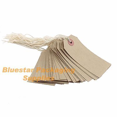 1000 x Quality Strung Brown Price Tags 70mm x 35mm