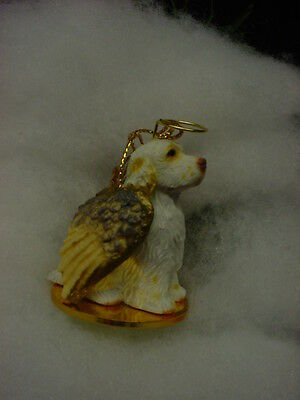 CLUMBER SPANIEL Dog ANGEL Ornament Figurine Statue Christmas puppy COLLECTIBLE