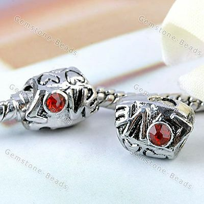 5x Red Crystal Carved Heart Love European Large Hole Beads Fit Bracelet DIY