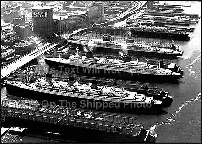 Poster Print: The SS United States, The SS France & The RMS Queen Mary, NY, 1962