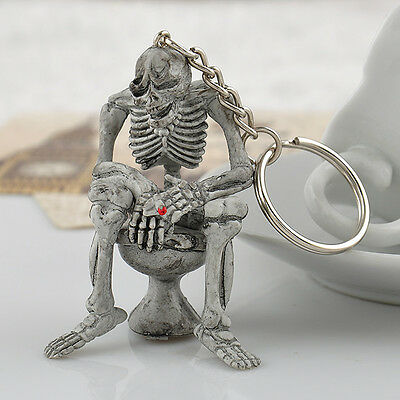 Unique Toilet Skull Stylish Creative Cool Fun Rubber Gift Keyring Bag Keychain