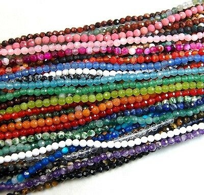 "4mm Natural Gemstones Faceted Round Beads 15"" ~ 16"""