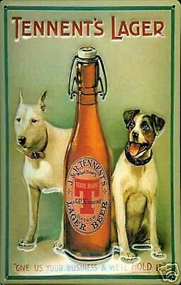Tennents Lager Dogs embossed steel sign 300mm x 200mm (hi)