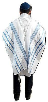 "Kosher Tallit Prayer Shawl acrylic 42X62""/107x160cm Israel Light Blue&silver N45"