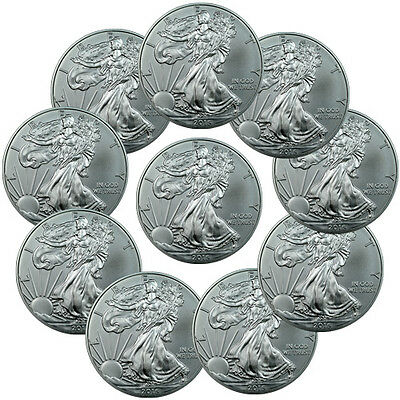Lot of 10 - 2015 1 Troy Oz .999 Silver American Eagle $1 Coin SKU33771