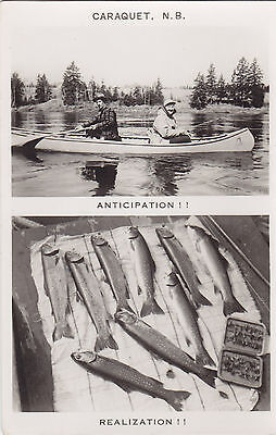 Fishing CARAQUET New Brunswick Canada 1940-60s Multiview Real Photo Postcard