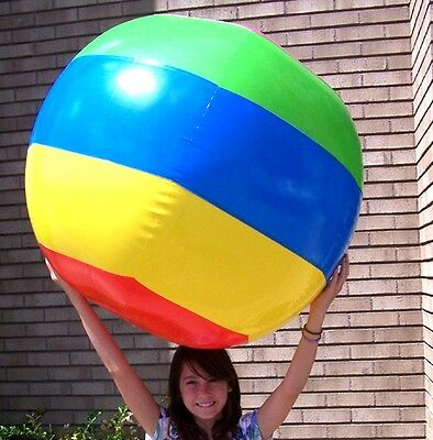 HUGE 4 FOOT STRIPED INFLATABLE BEACH BALL novelty blowup TOY inflate new balls
